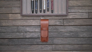 Leather Flap Pen Case for Two Pens - Brown