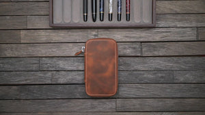 Leather Zippered 6 Slots Pen Case - Brown