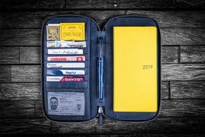 Leather Zippered Hobonichi Weeks Mega Cover - Crazy Horse Navy Blue