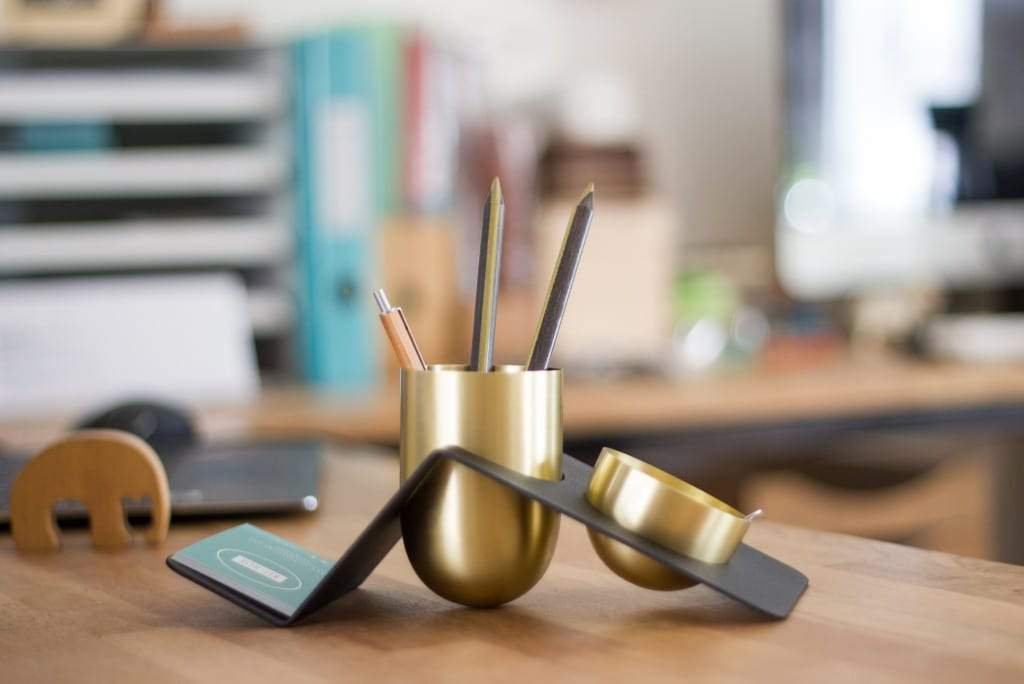 BLANK - Brass Desk Tidy - Galen Leather