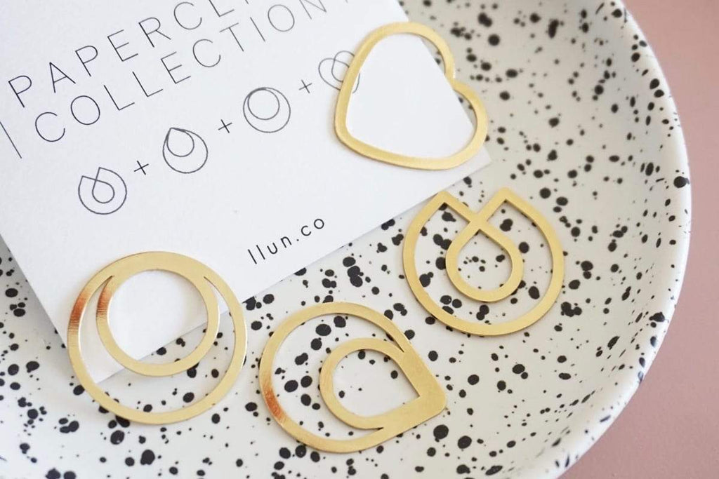 Brass Minimal Paper Clips - Bookmarks-Galen Leather