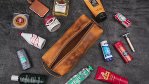 Leather Classic Dopp Kit & Travel Toiletry Bag - Crazy Horse Brown