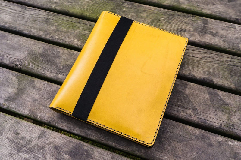 Composition Notebook Cover With iPad Air Pro Pocket - Yellow-Galen Leather