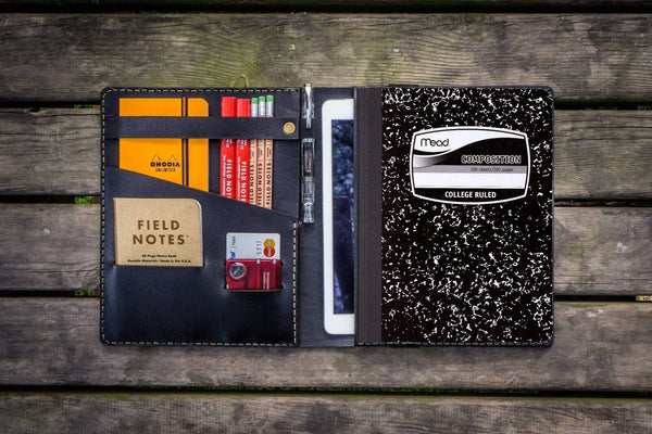 Composition Notebook Cover With iPad Air/Pro Pocket - Black-Galen Leather