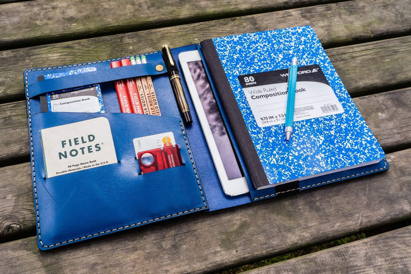 Composition Notebook Cover With iPad Air/Pro Pocket - Blue-Galen Leather