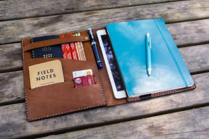 Composition Notebook Cover With iPad Air/Pro Pocket - Brown-Galen Leather