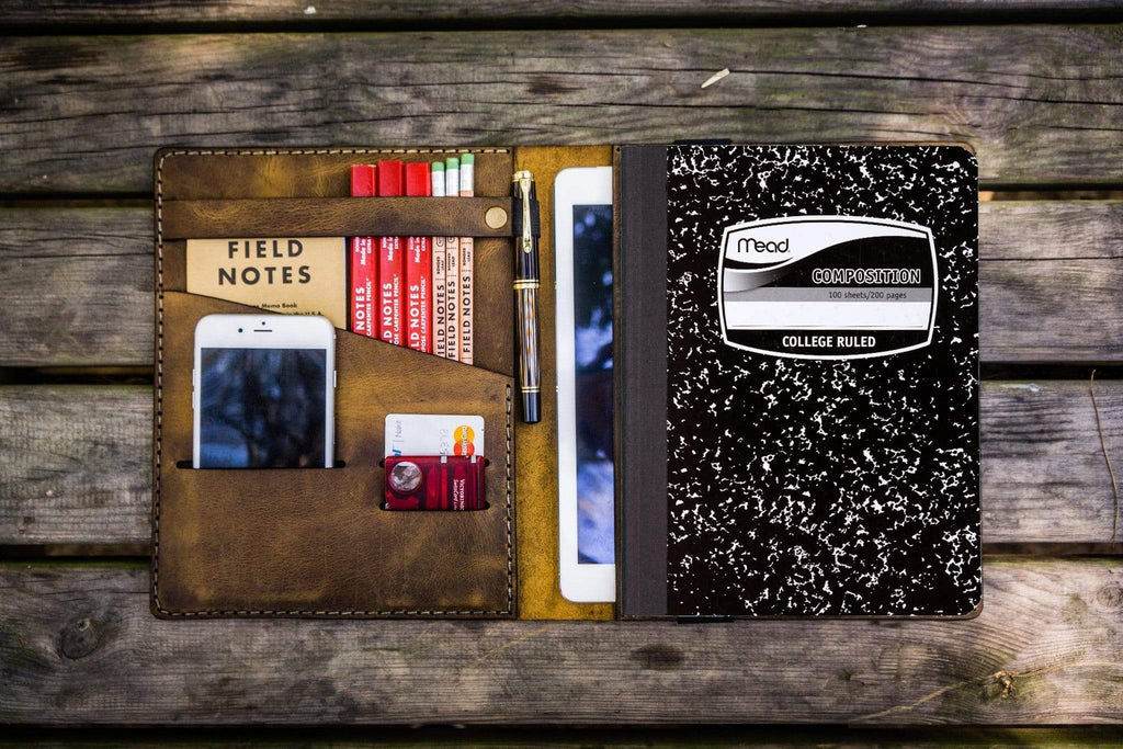 Composition Notebook Cover With iPad Air/Pro Pocket - Crazy Horse Brown-Galen Leather