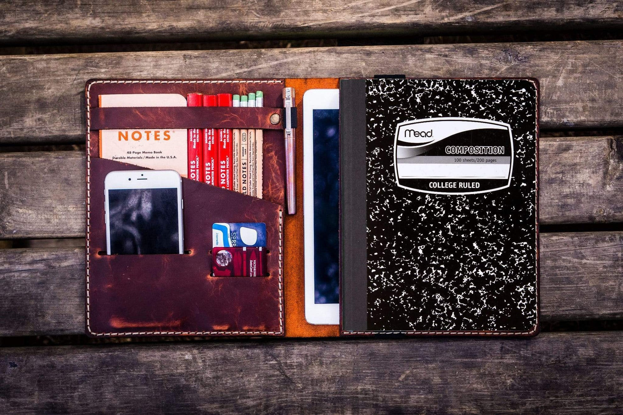 Composition Notebook Cover With iPad Air/Pro Pocket - Crazy Horse Orange-Galen Leather