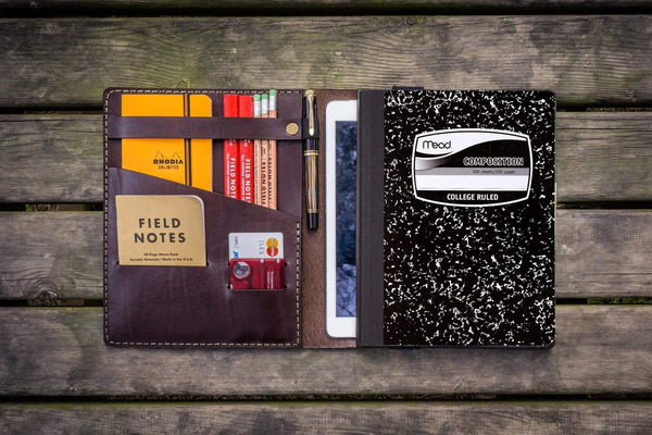 Composition Notebook Cover With iPad Air/Pro Pocket - Dark Brown-Galen Leather