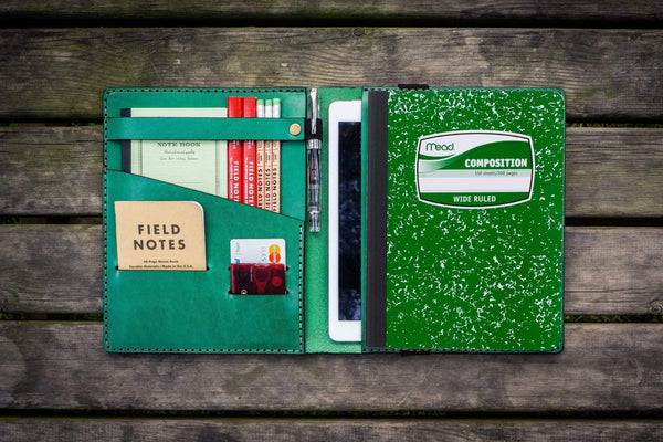 Composition Notebook Cover With iPad Air/Pro Pocket - Green-Galen Leather