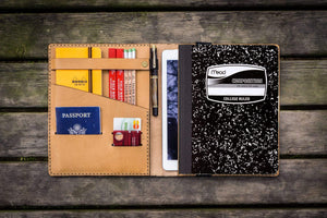 Composition Notebook Cover With iPad Air/Pro Pocket - Natural-Galen Leather