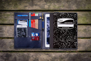 Composition Notebook Cover With iPad Air/Pro Pocket - Navy Blue-Galen Leather