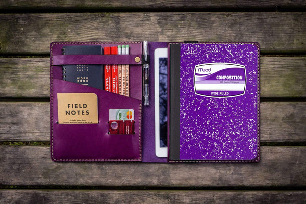 Composition Notebook Cover With iPad Air/Pro Pocket - Purple-Galen Leather