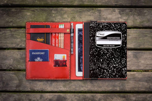 Composition Notebook Cover With iPad Air/Pro Pocket - Red-Galen Leather