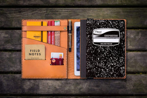 Composition Notebook Cover With iPad Pocket - Orange-Galen Leather