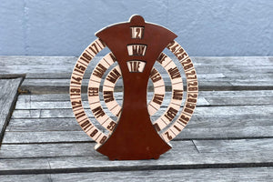 Brown Desktop Perpetual Calendar Leather