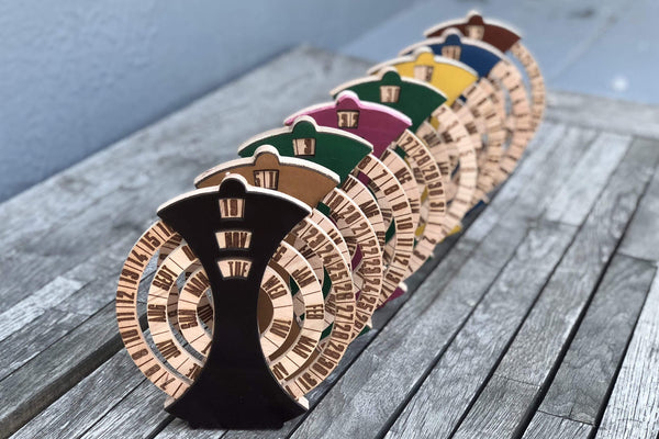 Desktop Wooden Perpetual Calendar Made From Leather and Wood - Galen Leather