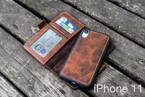 brown leather iphone 11 case