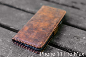 distressed brown leather leather iPhone 11 Pro Max wallet case