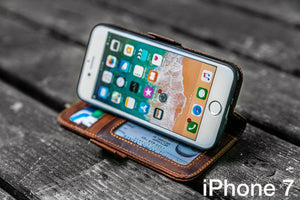 Detachable iPhone 7 Leather Wallet Case-Galen Leather