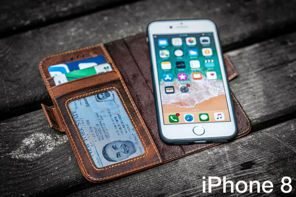 Detachable iPhone 8 Leather Wallet Case-Galen Leather