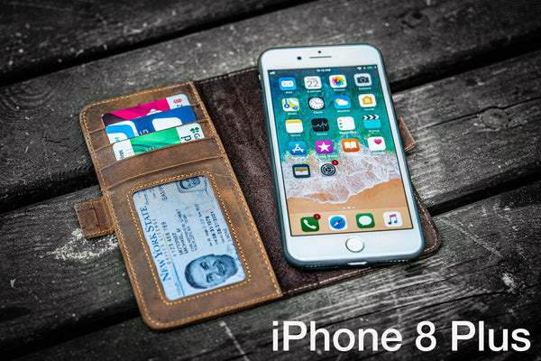 Detachable iPhone 8 Plus Leather Wallet Case-Galen Leather