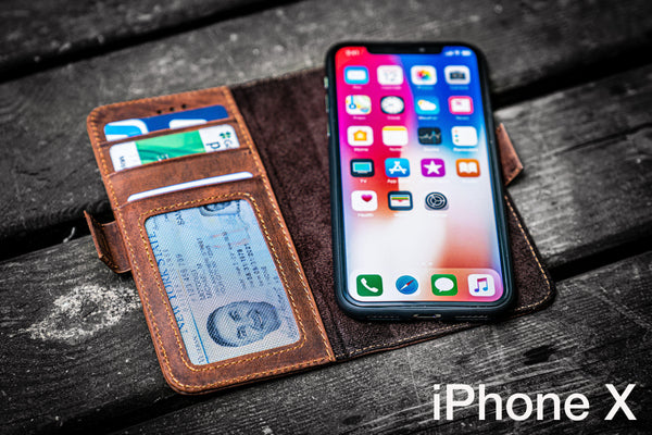 Detachable iPhone X Leather Wallet Case-Galen Leather