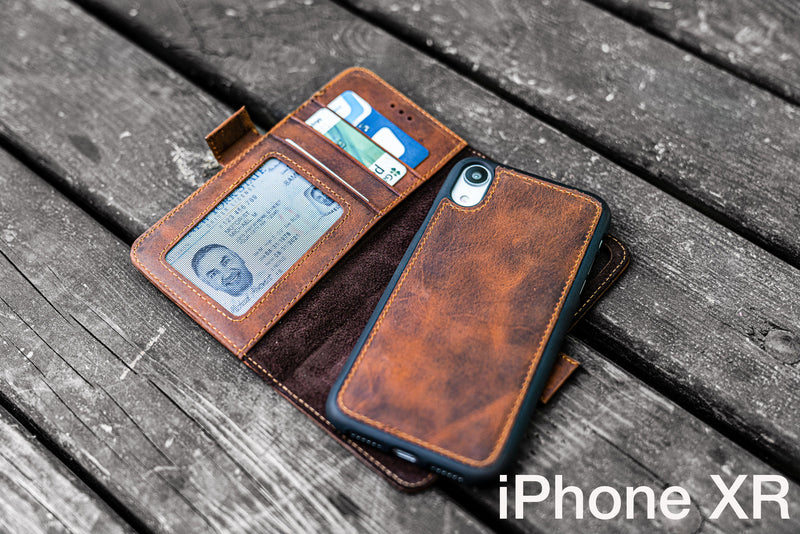 Detachable iPhone XR Leather Wallet Case-Galen Leather