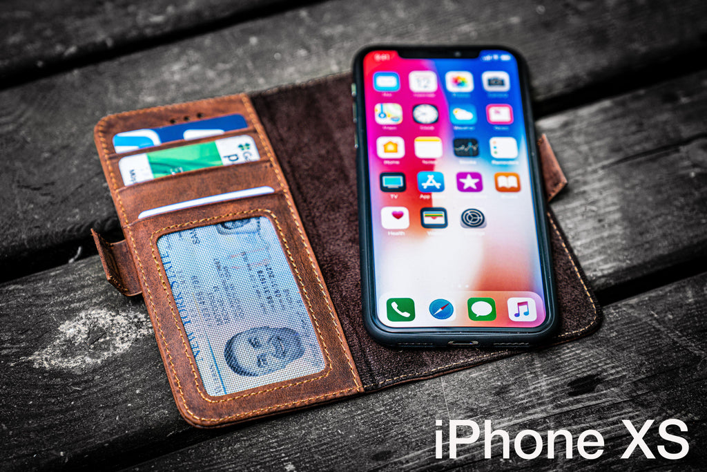 Detachable iPhone XS Leather Wallet Case-Galen Leather