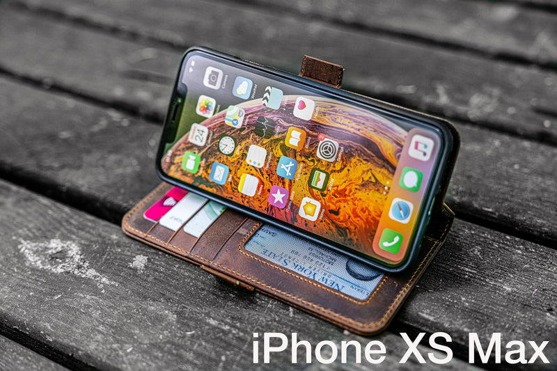 Detachable iPhone XS Max Leather Wallet Case-Galen Leather