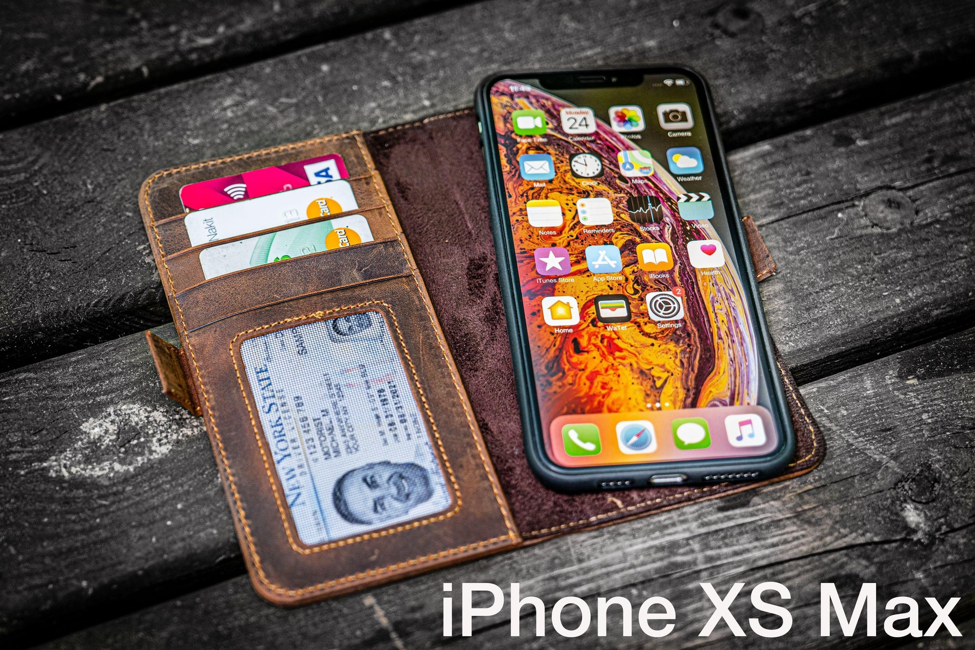 Detachable iPhone XS-Max Leather Wallet Case-Galen Leather