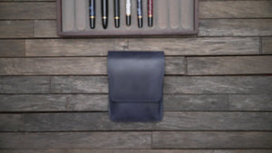 Leather Flap Pen Case for Five Pens - Brown
