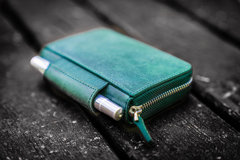 EDC Wallet - Crazy Horse Forest Green-Galen Leather