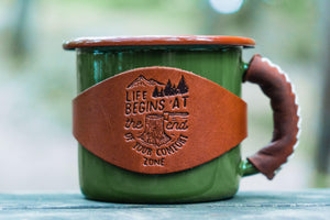 Enamel Mug with Leathered Handle - Green-Galen Leather