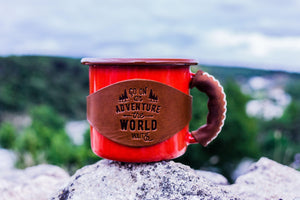 Enamel Mug with Leathered Handle - Red-Galen Leather