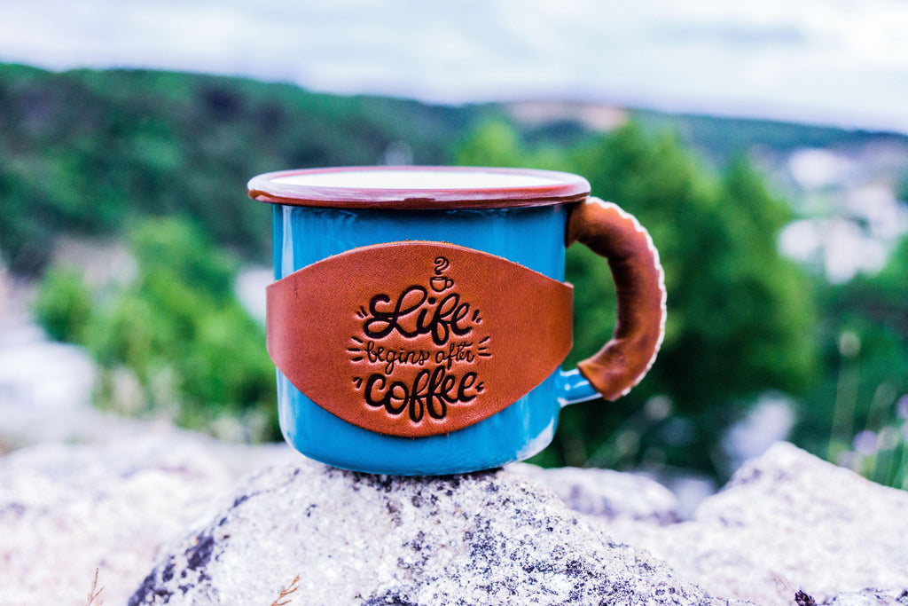Enamel Mug with Leathered Handle - Turquoise-Galen Leather