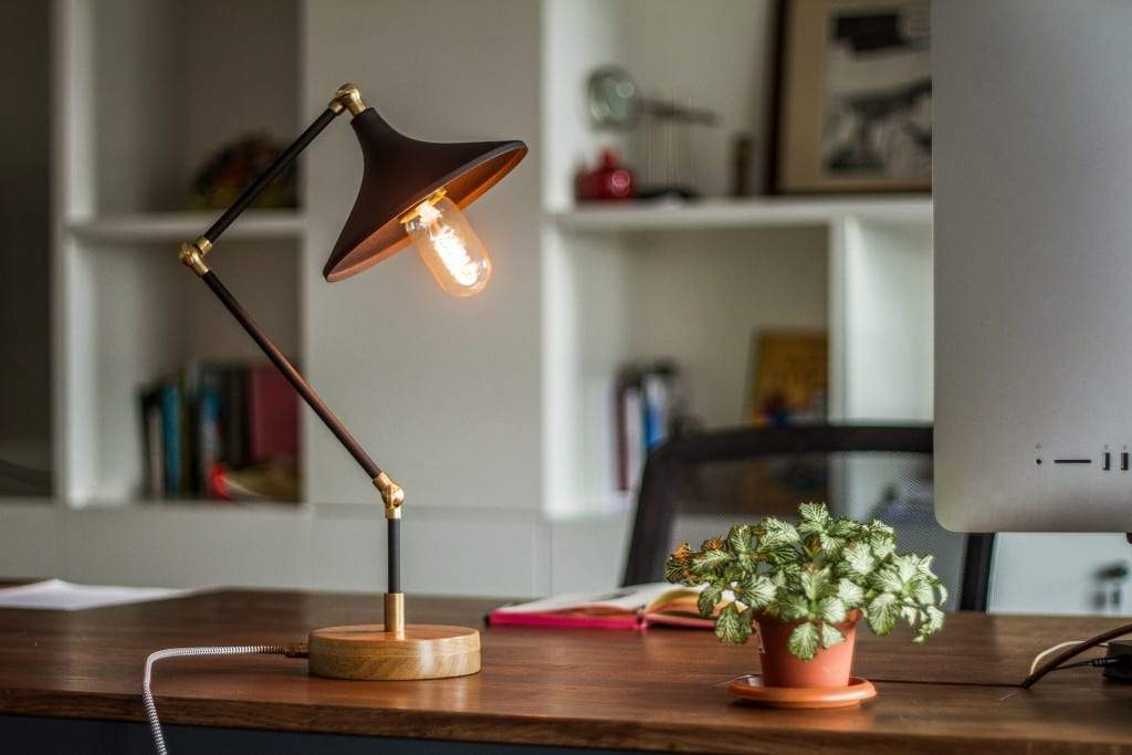 Gramophone - Industrial Black Desk Lamp - Galen Leather