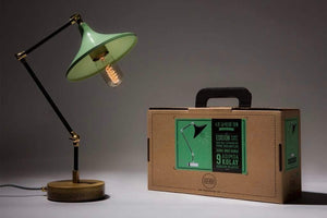 Gramophone - Industrial Desk Lamp - Mint - Galen Leather