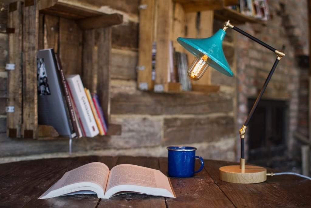 Gramophone - Industrial Teal Desk Lamp - Galen Leather