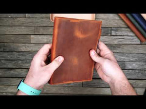 Leather Slim A6 Notebook / Planner Cover - Crazy Horse Honey Ochre