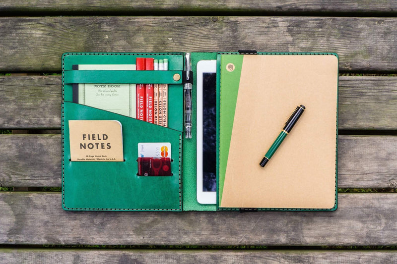 iPad Air/Pro & Extra Large Moleskine Cover - Green-Galen Leather