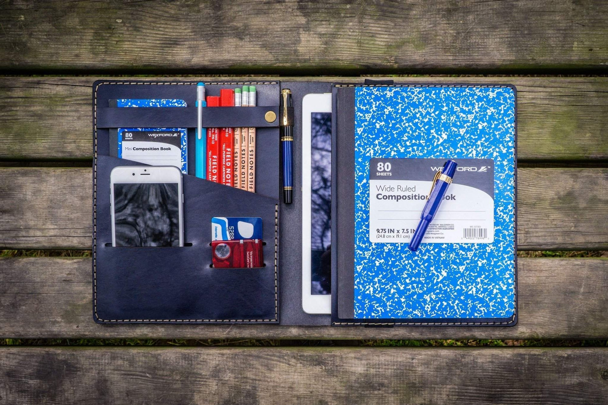 iPad Air/Pro & Extra Large Moleskine Cover - Navy Blue-Galen Leather