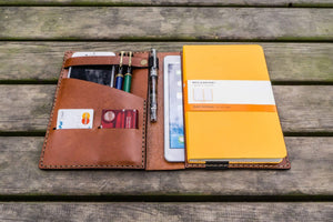 iPad Mini & Large Moleskine Cover - Brown-Galen Leather