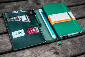 iPad Mini & Large Moleskine Cover - Crazy Horse Forest Green-Galen Leather