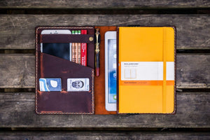 iPad Mini & Large Moleskine Cover - Crazy Horse Orange-Galen Leather