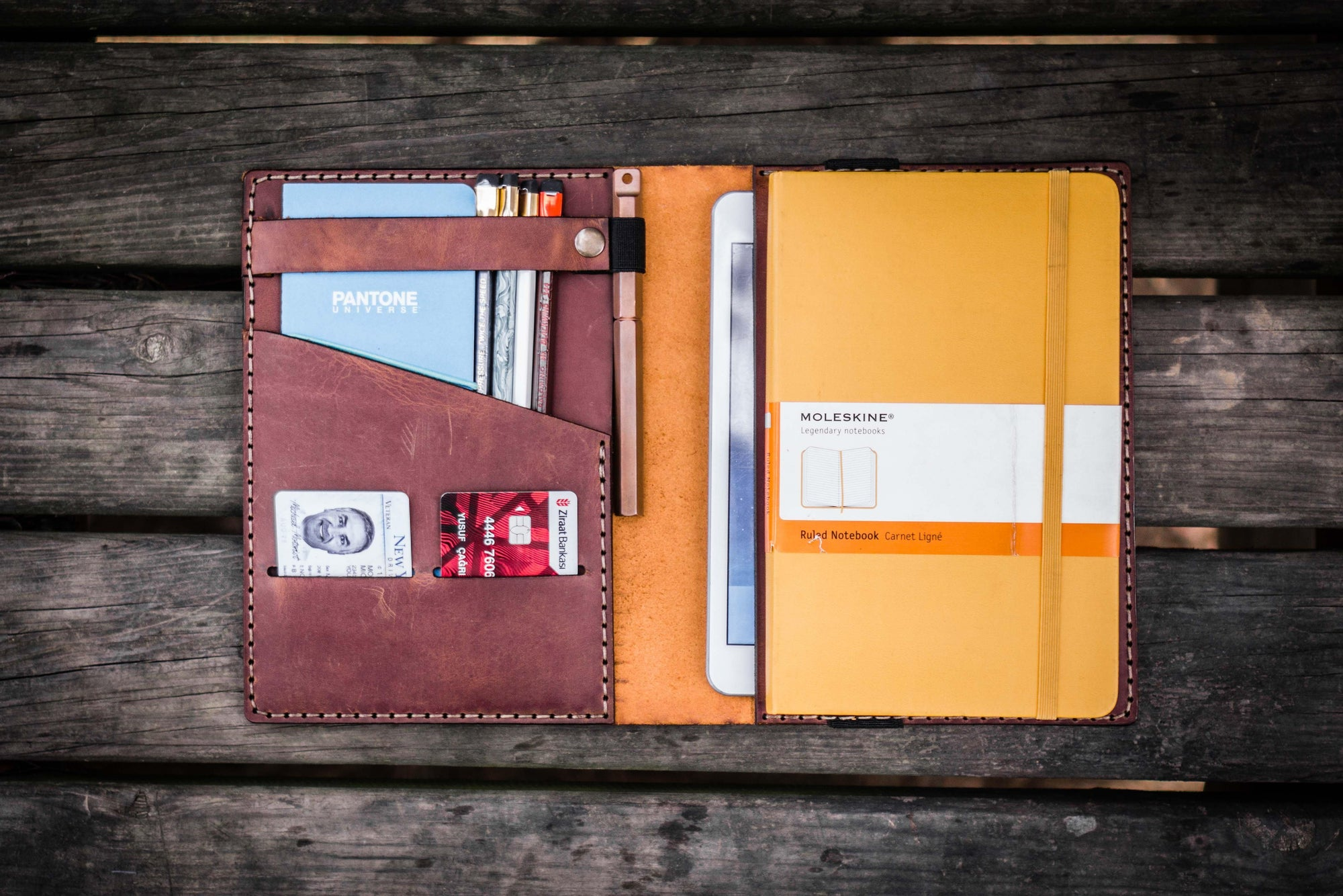 iPad Mini & Large Moleskine Cover - Crazy Horse Tan-Galen Leather