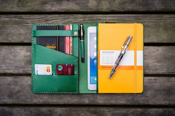 iPad Mini & Large Moleskine Cover - Green-Galen Leather