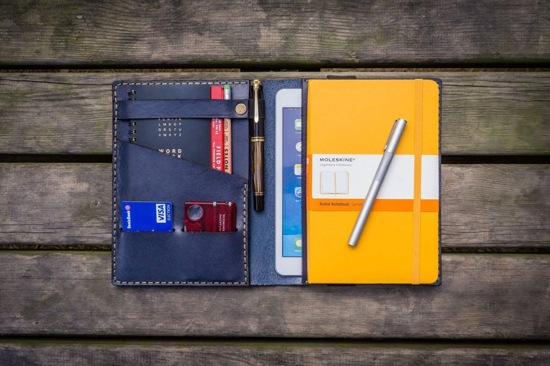 iPad Mini & Large Moleskine Cover - Navy Blue-Galen Leather