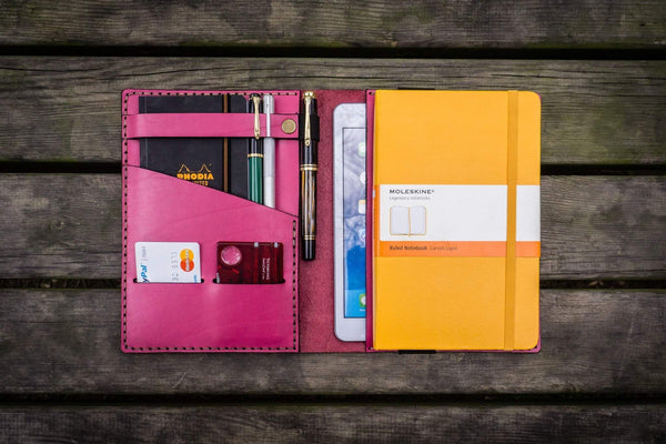 iPad Mini & Large Moleskine Cover - Pink-Galen Leather