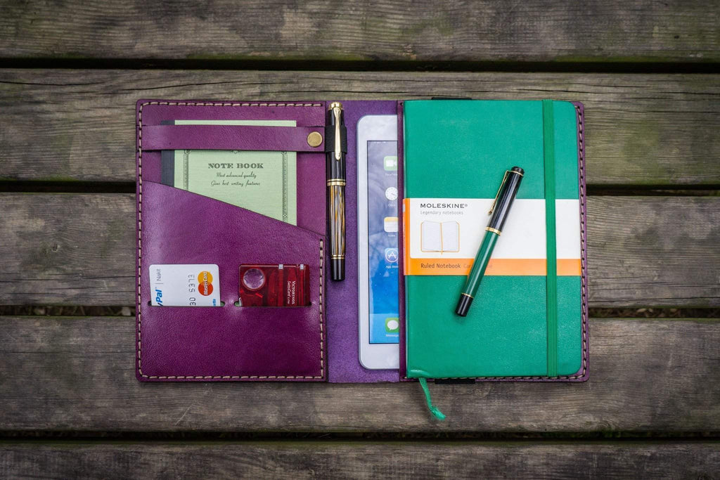 iPad Mini & Large Moleskine Cover - Purple-Galen Leather